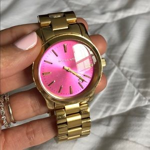 Pink and gold MK watch
